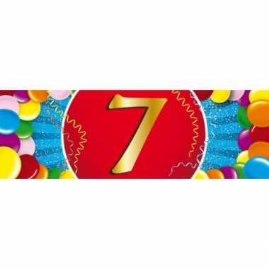 7 jaar leeftijd sticker 19 x 6 cm verjaardag versiering
