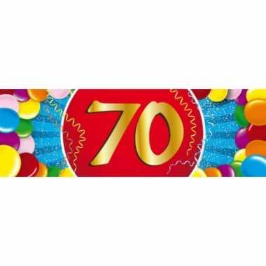 70 jaar leeftijd sticker 19 x 6 cm verjaardag versiering