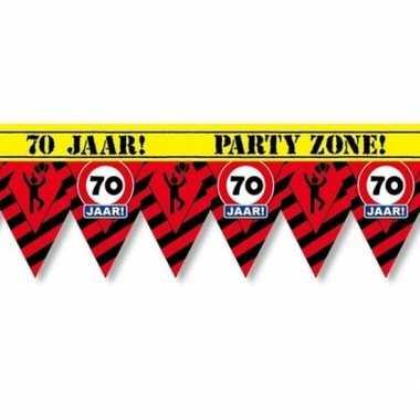 70 jaar party tape/markeerlint waarschuwing 12 m versiering