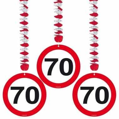 70 jaar versiering stopbord 6 stuks
