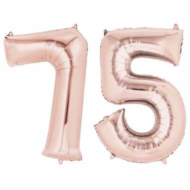75 jaar versiering cijfer ballon rose goud