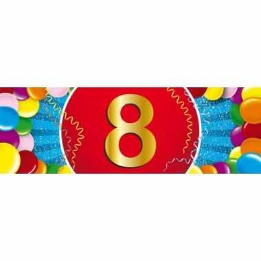 8 jaar leeftijd sticker 19 x 6 cm verjaardag versiering