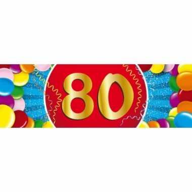 80 jaar leeftijd sticker 19 x 6 cm verjaardag versiering
