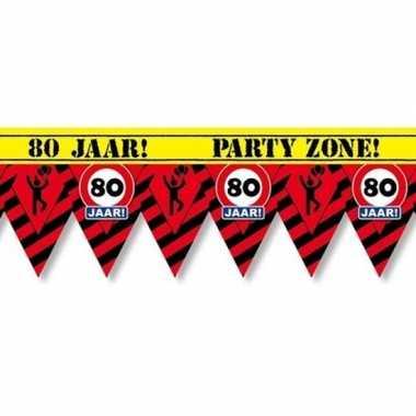 80 jaar party tape/markeerlint waarschuwing 12 m versiering