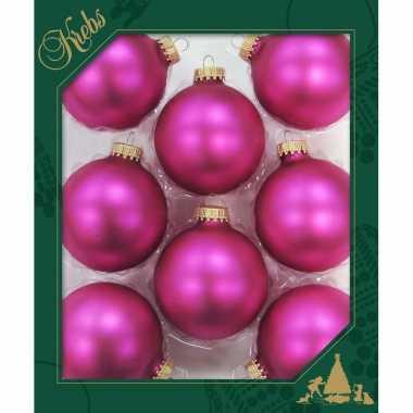 8x bubblegum roze glazen kerstballen mat 7 cm kerstboomversiering