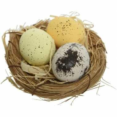 8x nestjes met kippeneieren naturel/geel 9 cm versiering