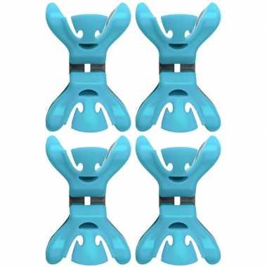 8x slingers/versiering ophangen slingerklemmen blauw