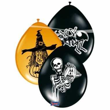 8x stuks horror versiering ballonnen zwart oranje