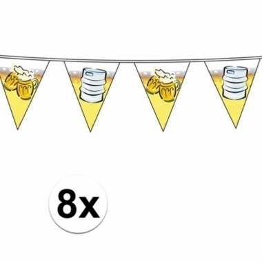 8x versiering bier vlaggenlijnen van 10 meter