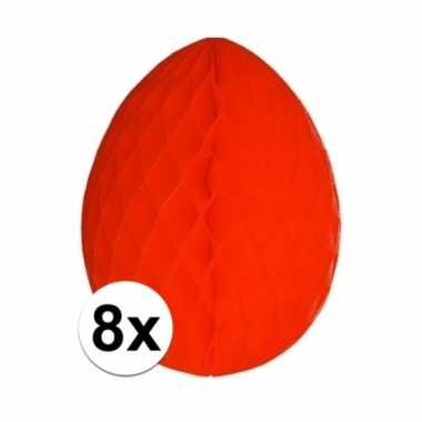 8x versiering paasei rood 20 cm