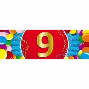 9 jaar leeftijd sticker 19 x 6 cm verjaardag versiering