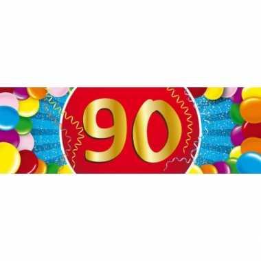 90 jaar leeftijd sticker 19 x 6 cm verjaardag versiering
