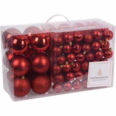 94 delige kerstboomversiering kunststof kerstballen set rood