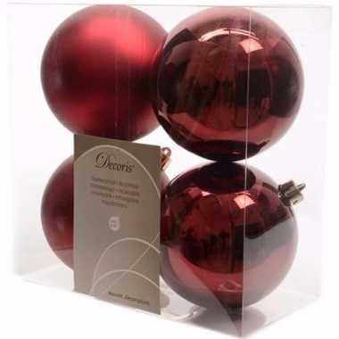 Ambiance christmas kerstboom versiering kerstballen donkerrood 4 x