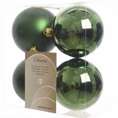Ambiance christmas kerstboom versiering kerstballen groen 4 x