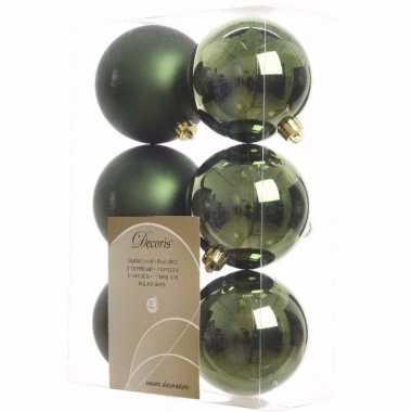 Ambiance christmas kerstboom versiering kerstballen groen 6 x