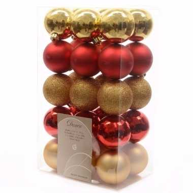 Ambiance christmas kerstboom versiering kerstballen mix rood goud