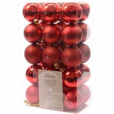Ambiance christmas kerstboom versiering kerstballen rood 30 x