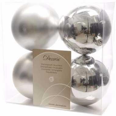 Ambiance christmas kerstboom versiering kerstballen zilver 4 x