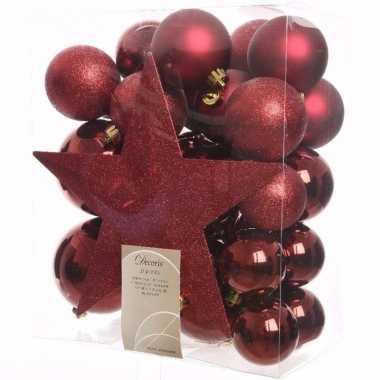 Ambiance christmas kerstboom versiering set donkerrood 33 delig