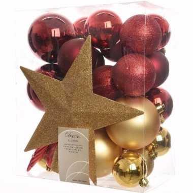 Ambiance christmas kerstboom versiering set goud rood 33 for Versiering goud