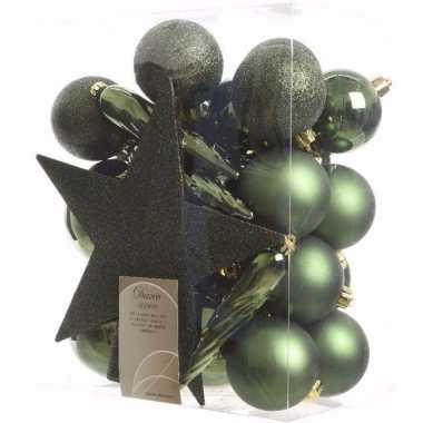 Ambiance christmas kerstboom versiering set groen 33 delig