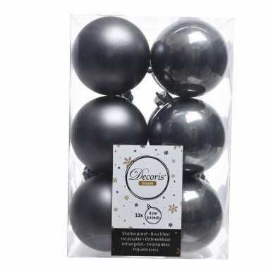 Antraciet kerstversiering kerstballen kunststof 6 cm