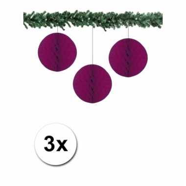Aubergine kerstversiering ballen van papier 10 cm 3 stuks