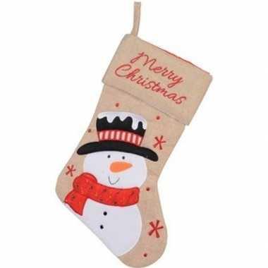 Beige kerstsok kerstversiering met sneeuwpop borduursel 41 cm