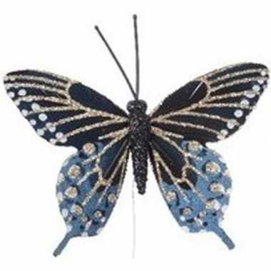 Blauw gouden vlinder steker versiering 6 cm