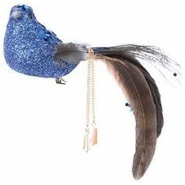 Blauwe glitter vogel kerstversiering clip versiering 5 cm