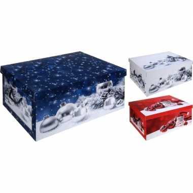 Blauwe kerstballen/kerstversiering opbergbox 49 cm