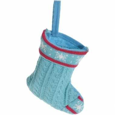 Blauwe kerstsok kerstversiering hangversiering 21 cm