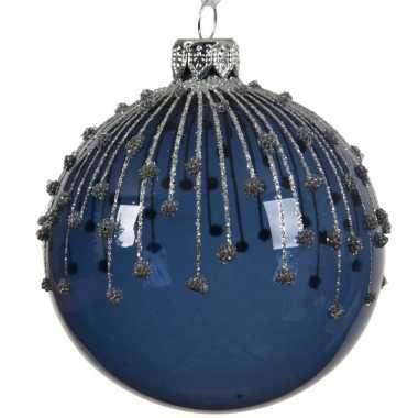 Blauwe kerstversiering transparante kerstballen van glas 8 cm