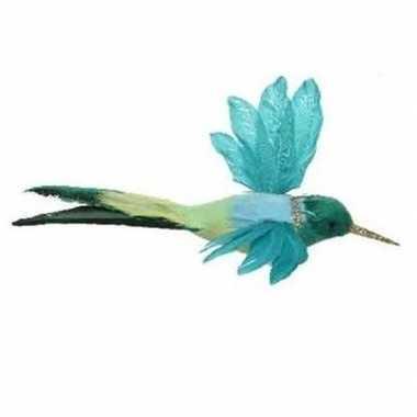 Blauwe kolibrie vogel op clip 15 cm versiering