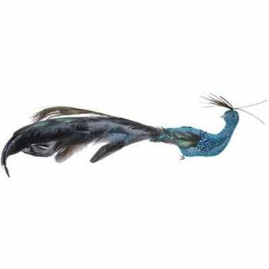 Blauwe pauwen vogel kerstversiering clip versiering 10 cm