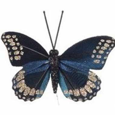 Blauwe vlinder steker versiering 6 cm