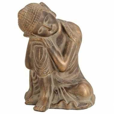 Boeddha beeldje antiek goud 27 cm woonversiering