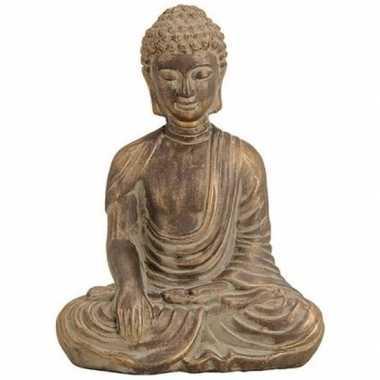 Boeddha beeldje antiek goud 33 cm woonversiering
