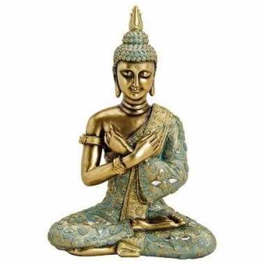 Boeddha beeldje goud/groen 33 cm woonversiering