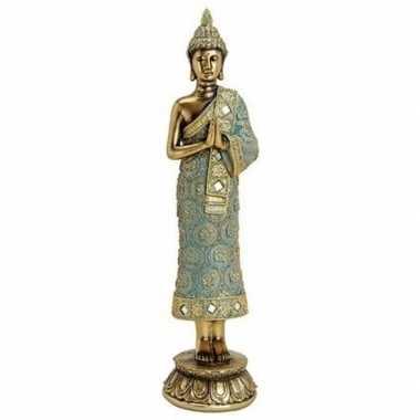 Boeddha beeldje goud staand 36 cm woonversiering