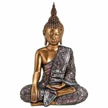 Boeddha beeldje goud/zilver 34 cm woonversiering