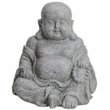 Boeddha beeldje grijs polystone 31 cm woonversiering