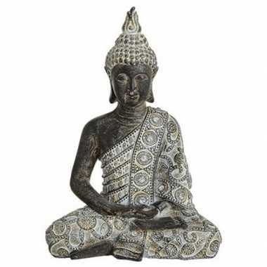 Boeddha beeldje grijs/zwart 24 cm woonversiering