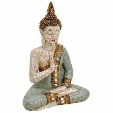 Boeddha beeldje wit/groen 29 cm woonversiering