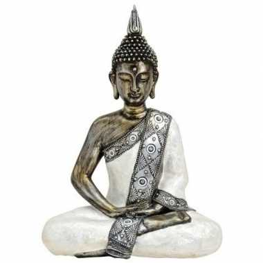 Boeddha beeldje wit/zilver 41 cm woonversiering