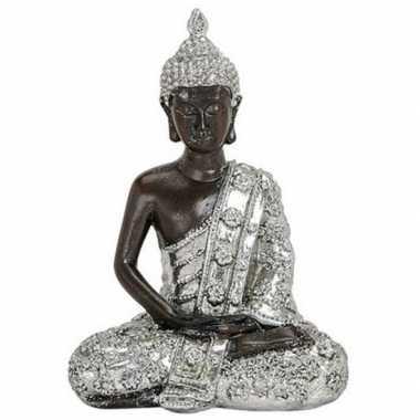 Boeddha beeldje zilver/zwart 15 cm woonversiering