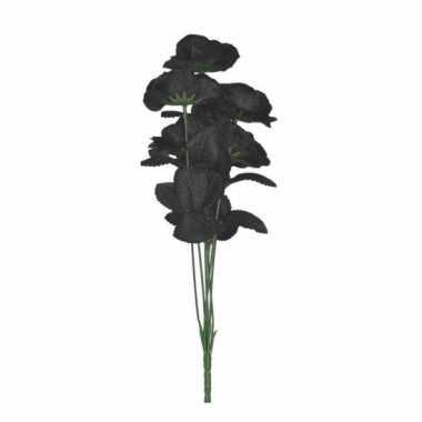 Bosje met 6 zwarte rozen halloween versiering 37 cm