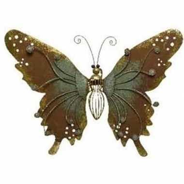 Brons/groene metalen vlinder 36 cm tuin versiering