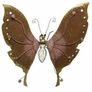 Brons/roze metalen vlinder 36 cm tuin versiering